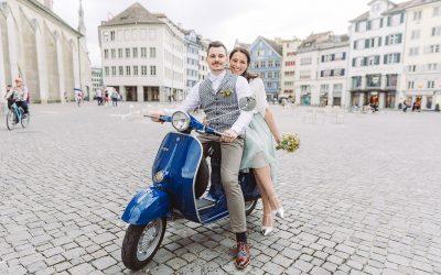 Mit der Vespa durch Zürich – die wunderbare Hochzeit von Laura + Thomas